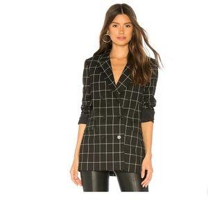 Joie double-breasted checkered black white blazer